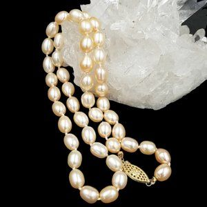 Jewelry - Natural Peach Color Cultured Pearl 14k Necklace